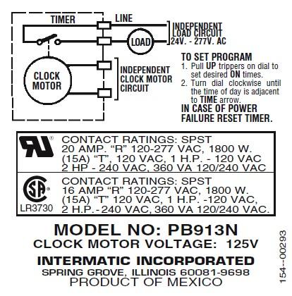Intermatic Time Clock Spa Timer Pb913n Pb913n25
